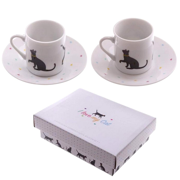I Love My Cat Set of 2 Espresso Cup and Saucer