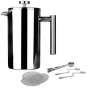 French Press Cafetiere | Steel Coffee Maker | FREE Filters & Spoons | M&W 1500ml