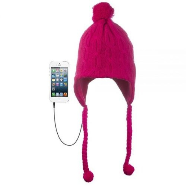 KitSound Audio Peruvian Cable Knit Beanie Hat with Pom Pom and Built-In On- dd59c21df43