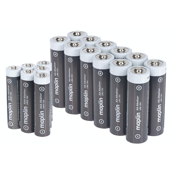 Maplin Extra Long Life Hi Performance Alkaline Batteries Box of 12x AA+ 6x AAA