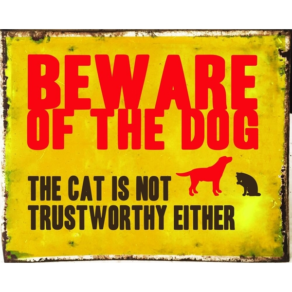 Vintage Metal Sign Beware Of The Dog