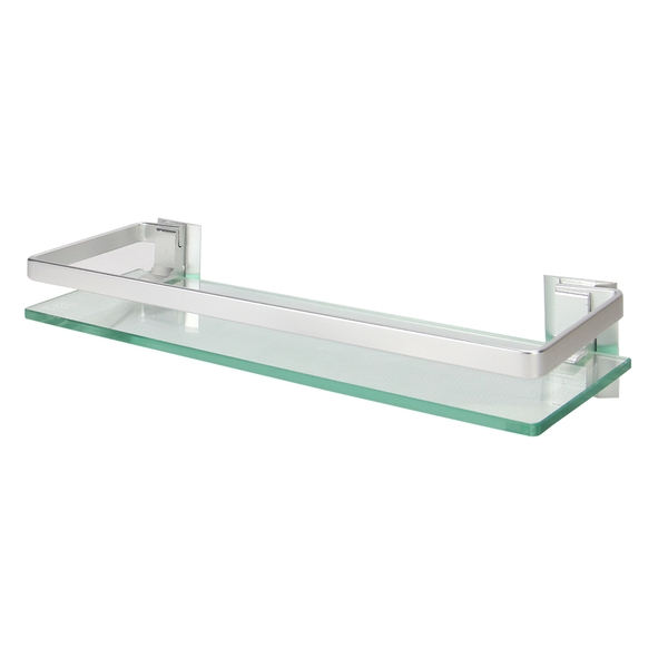 Tempered Glass Shelf with Aluminium Rail | M&W 1 Tier