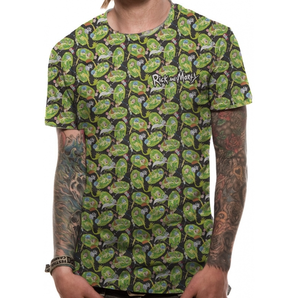 Rick And Morty - Repeat Pattern Sublimated Men's Medium T-Shirt - Green