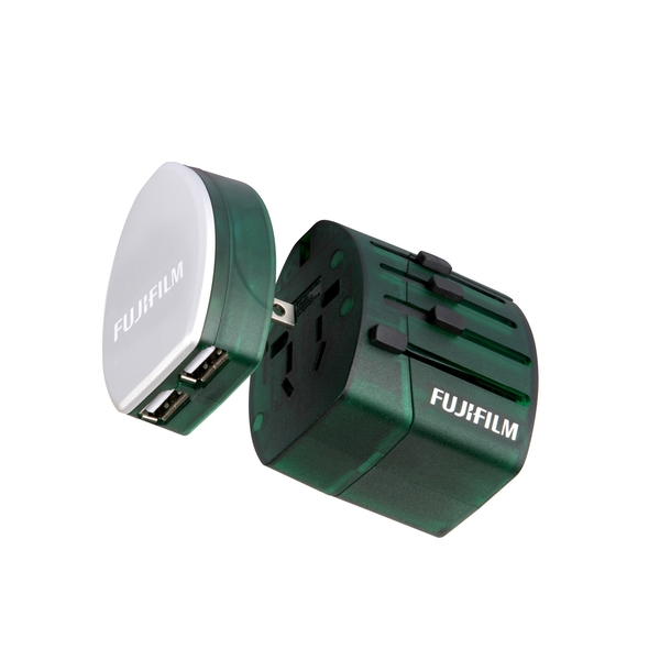 Fujifilm World Trip Dual USB Charger and Travel Adaptor Green