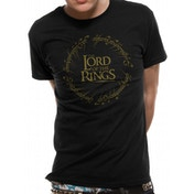 Lord Of The Rings - Gold Metallic Logo Men's X-Large T-shirt - Black
