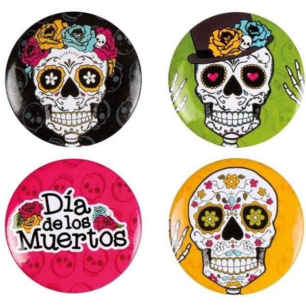 Day Of The Dead Buttons (Pack Of 4)