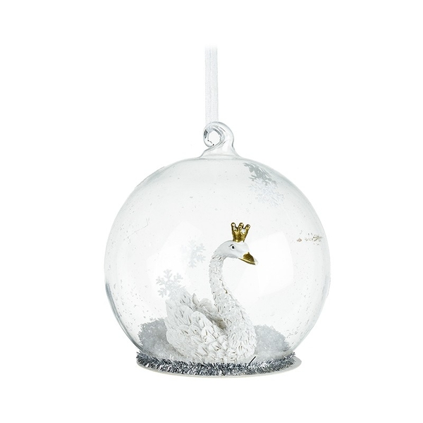 Swan In Crown Hanging Glass Bauble Decoration by Heaven Sends