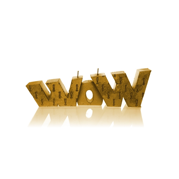 Gold WOW Sign Candle