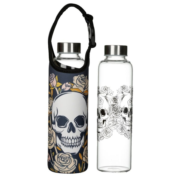 Skulls & Roses Reusable Glass Water Bottle with Sleeve and Handle