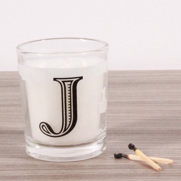 J Alphabet Candle in Votive Glass