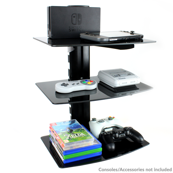 Tempered Black Glass Floating Shelf Wall Mount Consoles/DVD players M&W 3 Tier - Image 3
