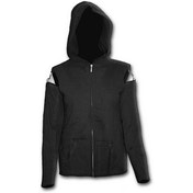 Gothic Rock Mesh Sleeve Full Zip Women's Small Hoodie - Black