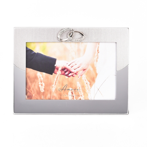"""Amore 2 Tone Silver Frame with Rings Icon 6"""" x 4"""""""