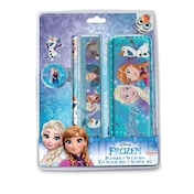 Disney Frozen Garnished Tin Pencil Box with 4 Piece School Set