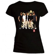One Direction Flowers Skinny Black T-Shirt X Large