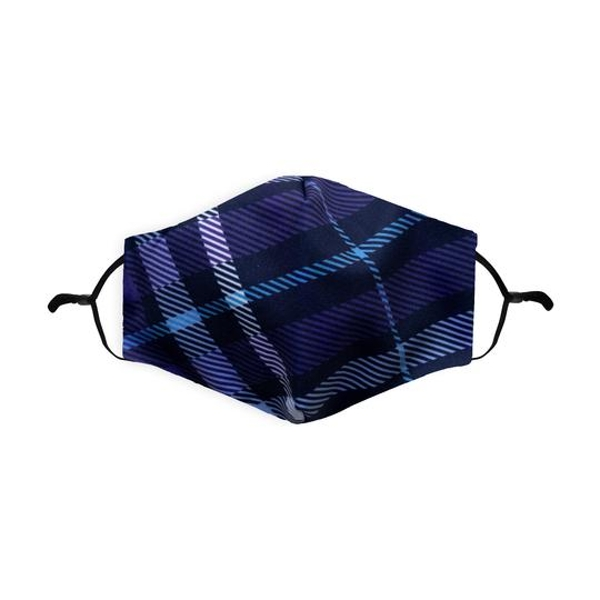 Blue Tartan Printed Face Mask