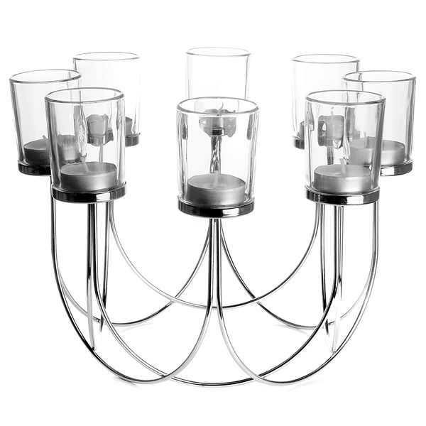 8 Tea Light Candle Holder | M&W Chrome - Image 1