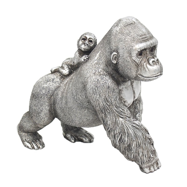Reflections Silver Standing Gorilla With Baby Figurine By Leonardo