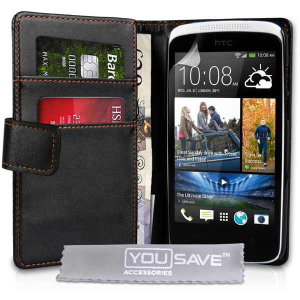 YouSave Accessories HTC Desire 500 Leather-Effect Wallet Case - Black