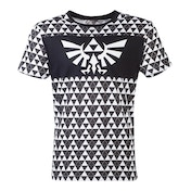 Nintendo - Royal Crest Logo With Tri-Force Checker Pattern Men's Medium T-Shirt - Black/White