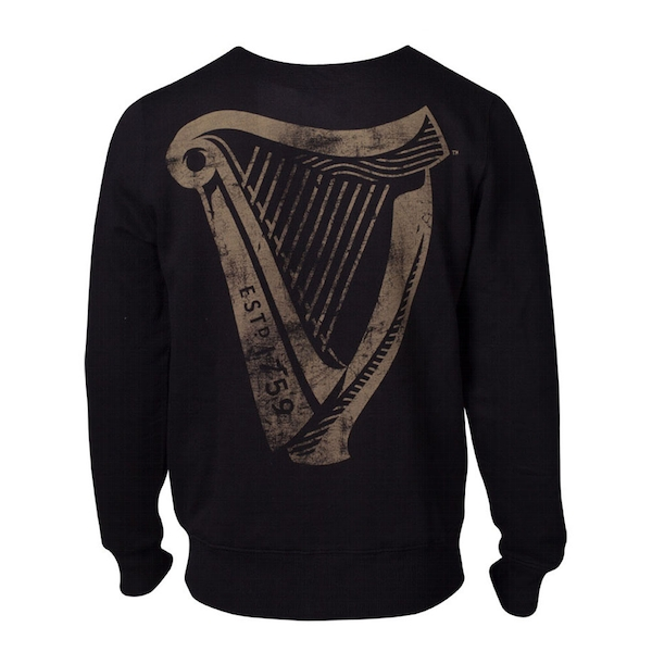 Guinness - Distressed Harp Logo Men's Small Sweatshirt - Black