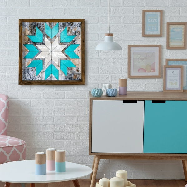 TAH012 Brown Grey White Blue Decorative Framed MDF Painting
