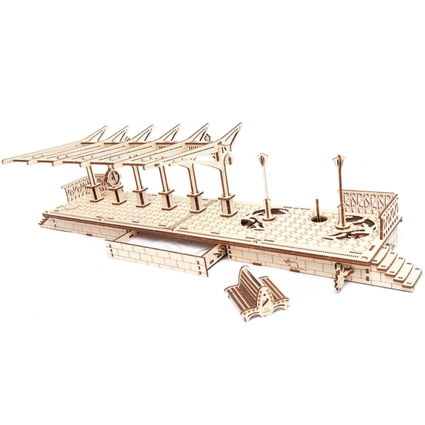 Railway Platform UGears 3D Wooden Model Kit