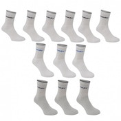 Donnay 12 Pack Crew Socks White & Grey Assortment UK Size 6-11