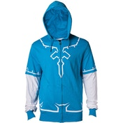 Legend of Zelda: Breath of the Wild - Link Men's Medium Full Length Zipper Hoodie - Blue