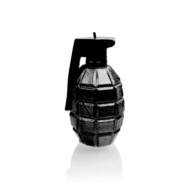 Black High Glossy Small Grenade Candle