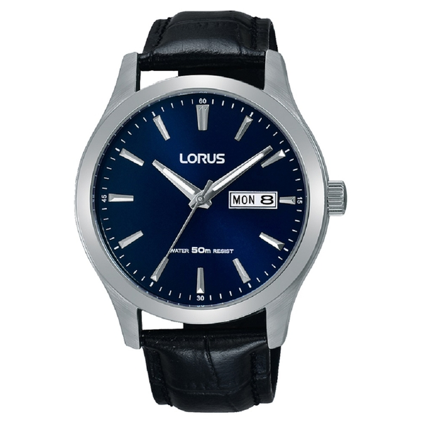 Lorus RXN33DX9 Mens Stylish Dress Watch with Black Leather Strap
