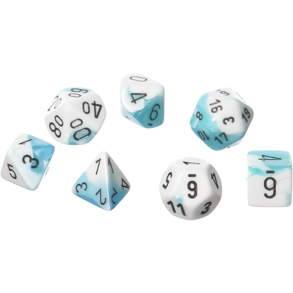 Chessex Gemini Poly 7 Set: White - Teal/Black