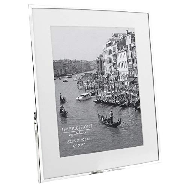 """6"""" x 8"""" - Impressions Silver Plated White Mount Photo Frame"""