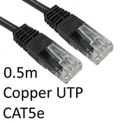 RJ45 (M) to RJ45 (M) CAT5e 0.5m Black OEM Moulded Boot Copper UTP Network Cable