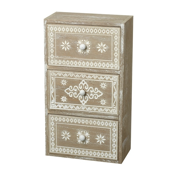 Three Limed Wood Patterned Drawers By Heaven Sends