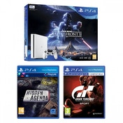PS4 Slim Console 500GB White Star Wars Battlefront II + Gran Turismo Sport + Hidden Agenda Bundle