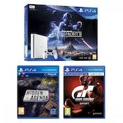 PlayStation 4 Slim (500GB) White Console Star Wars Battlefront II + Gran Turismo Sport + Hidden Agenda Bundle
