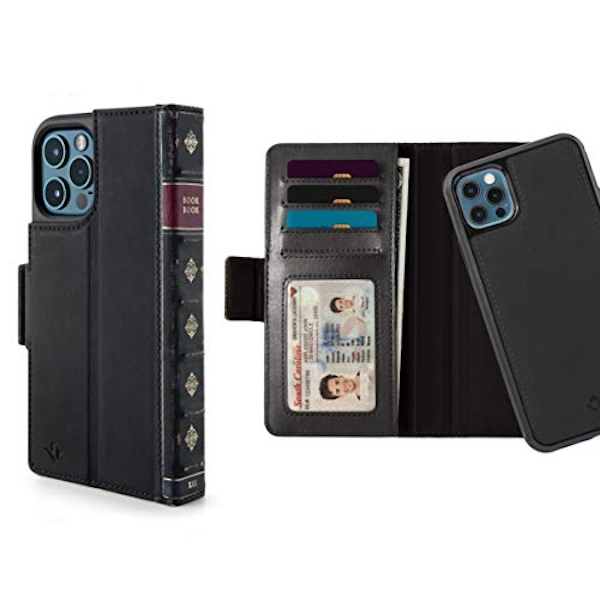 Twelve South BookBook for iPhone 12 and 12 Pro | 3-in-1 Leather Wallet Case with Display Stand and Removable Magnetic Shell (black)