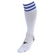 Precision 3 Stripe Pro Football Socks Junior UK size 12-2  White/Royal