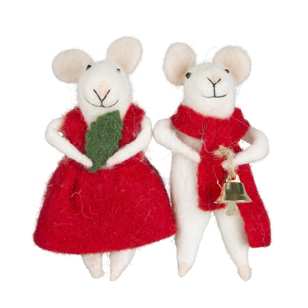 Sass & Belle Millie & George Christmas Mouse Standing Decoration (One Random Supplied)