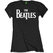 The Beatles - Drop T Logo Women's Large T-Shirt - Black