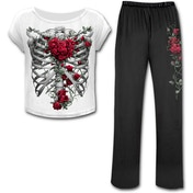 Rose Bones Women's Medium 4-Piece Gothic Pyjama Set - White/ Black
