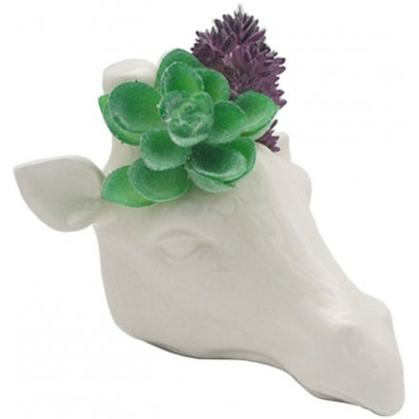 14 cm Ceramic Giraffe Head Garden Wall Planter