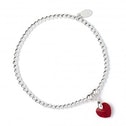 Red Sian Swarovski Crystal Heart with Sterling Silver Ball Bead Bracelet