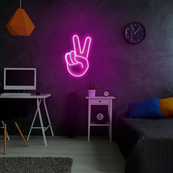 Victory Sign - Pink Pink Wall Lamp