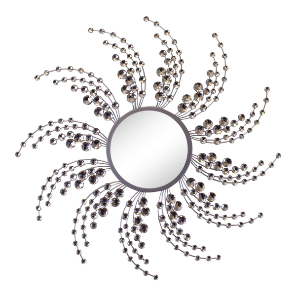 Silver Metal Jewelled Swirl Design Mirror