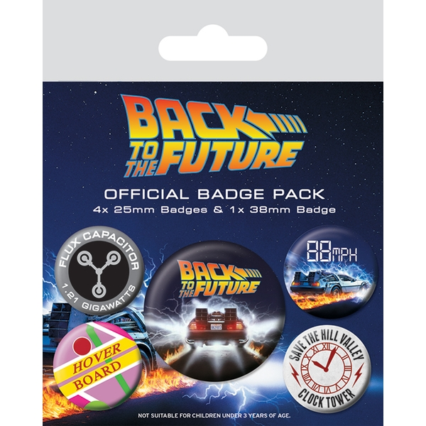 Back To The Future - Delorean Badge Pack