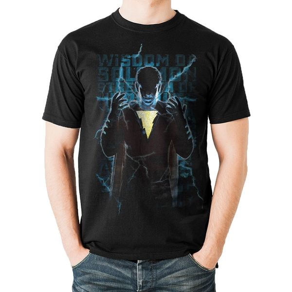 Shazam Movie - Heroic Text Men's XX-Large T-Shirt- Black