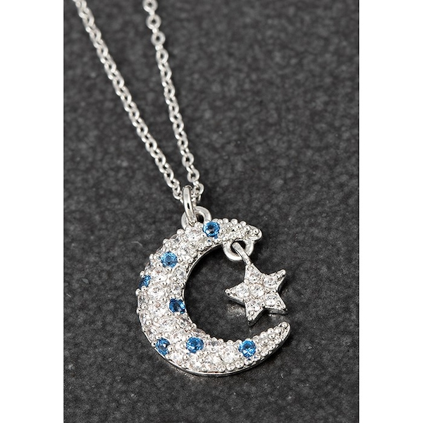 Celestial Pave Moon Star Platinum Plated Necklace