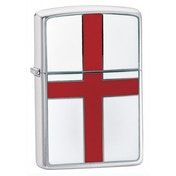 Zippo St.Georges Flag Emblem Brushed Chrome Windproof Lighter